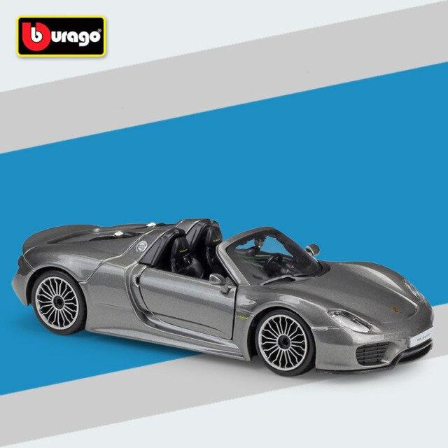 Miniatura Carro Colecionável Porsche 918 Spyder Cinza Diecast Escala 1/24 - Bburago - MKP