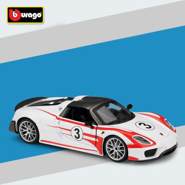 Miniatura Carro Colecionável Porsche 918 Weissach Diecast Escala 1/24 - Bburago - EVALI