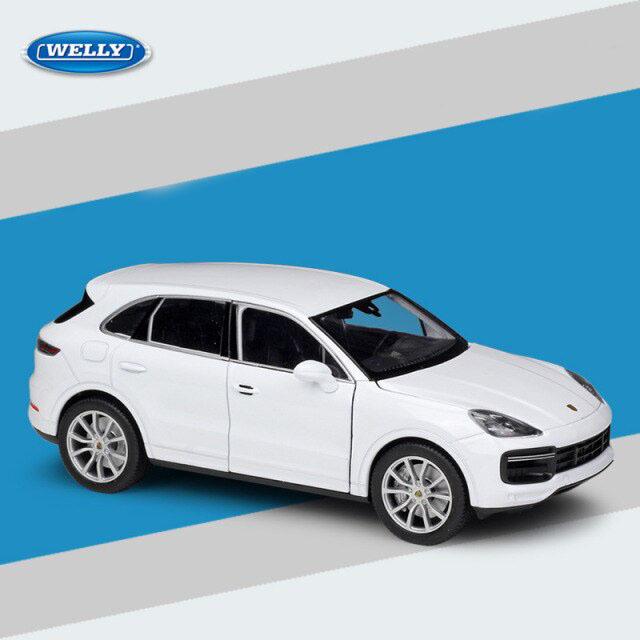 Miniatura Carro Colecionável Porsche Cayenne Turbo Branco Diecast Escala 1/24 - Welly - MKP