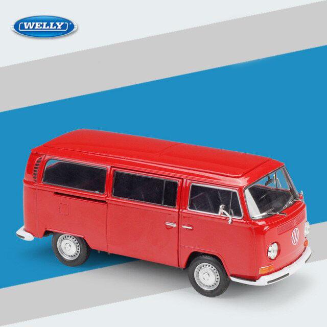 Miniatura Carro Colecionável Volkswagen T2 Bus 1973 Vermelho Diecast Escala 1/24 - Welly - MKP