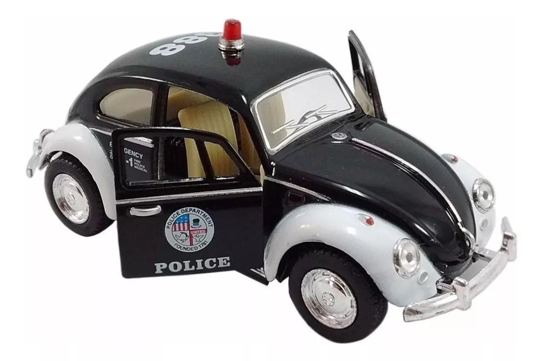 Miniatura Carro de Fricção: Fusca Preto Police (1967 Volskwagen) Escala 1:32