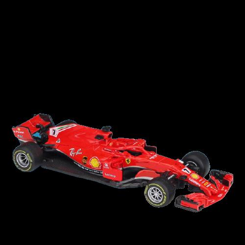 Miniatura Ferrari Racing SF71H 2018 Número 7: Kimi Raikkonen Fórmula 1 (1/43) - Bburago - EVALI