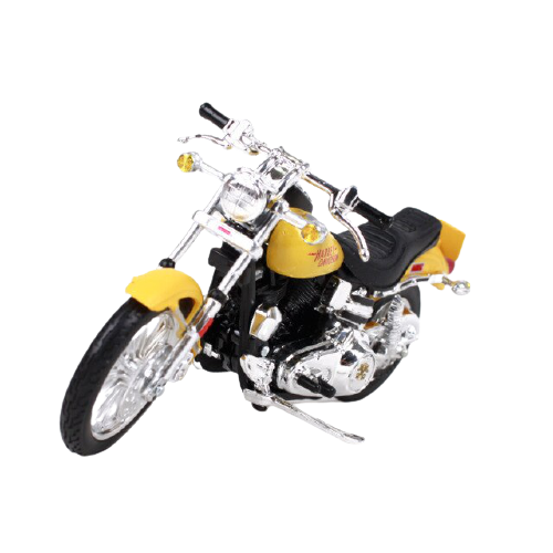 Miniatura Moto Harley-Davidson FXS Low Ride - 1977 - Amarela - 1:18 - Maisto - MKP
