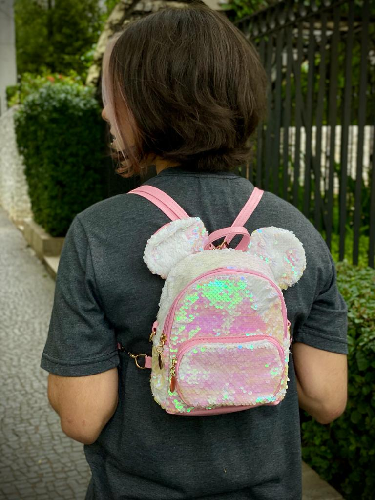Mochila / Bolsa Mickey com Lantejoulas (Branca e Rosa): Disney