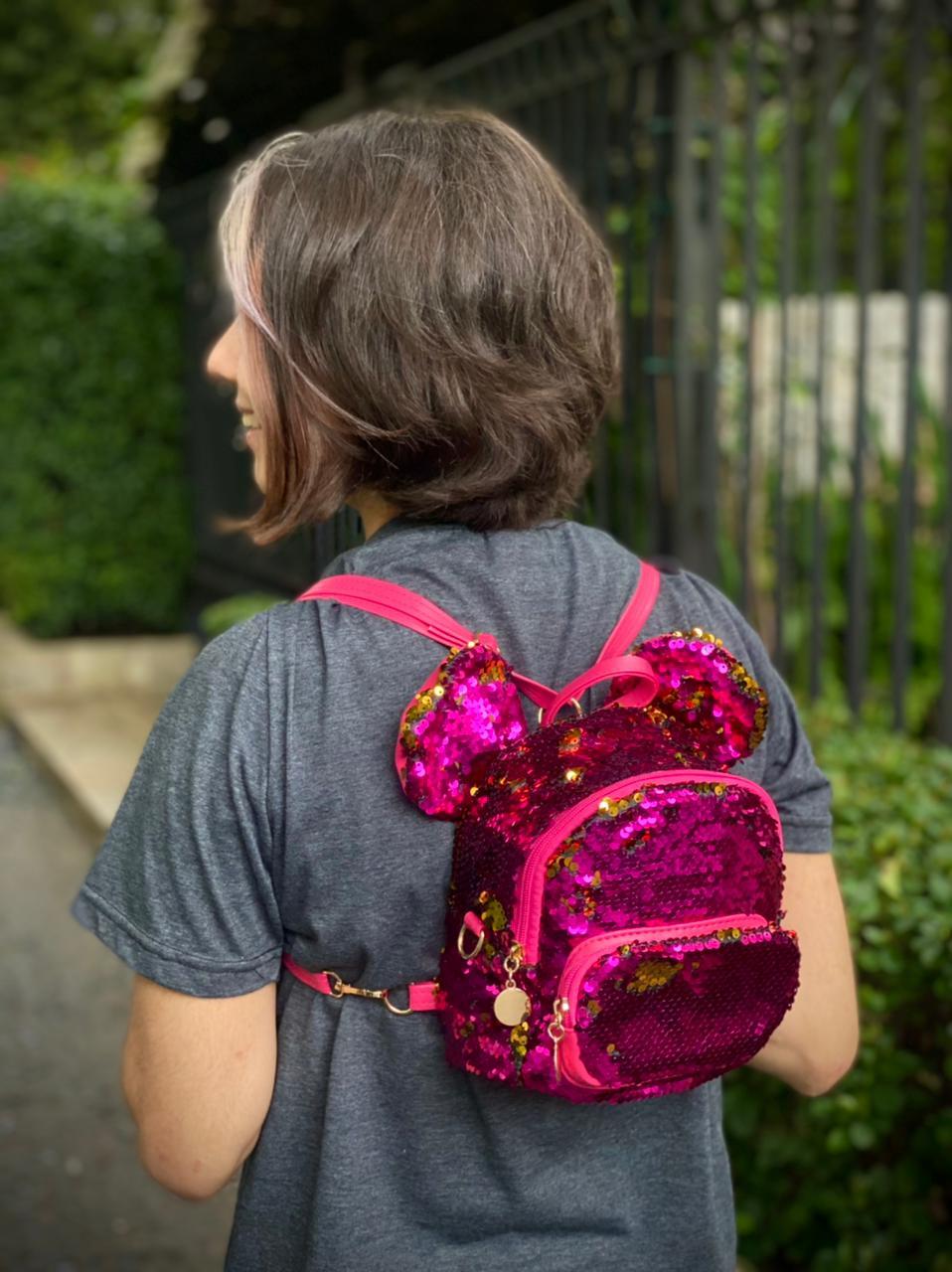 Mochila / Bolsa Mickey com Lantejoulas (Roxa e Douado): Disney