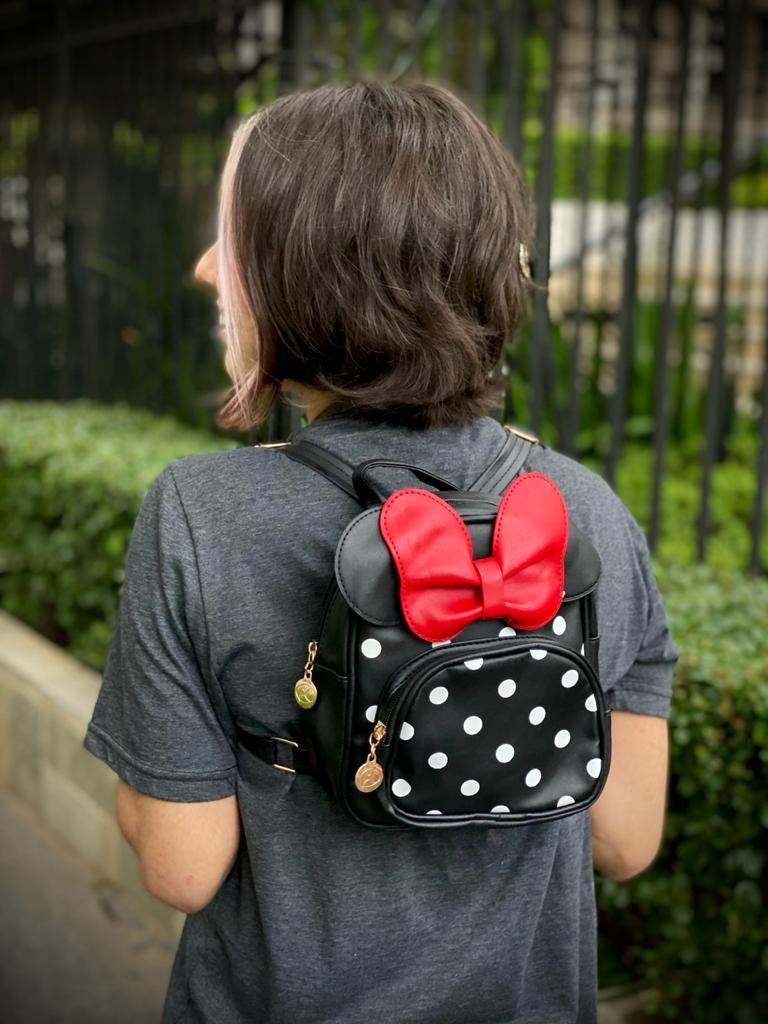 Mochila / Bolsa Minnie (Preta e Vermelha): Disney