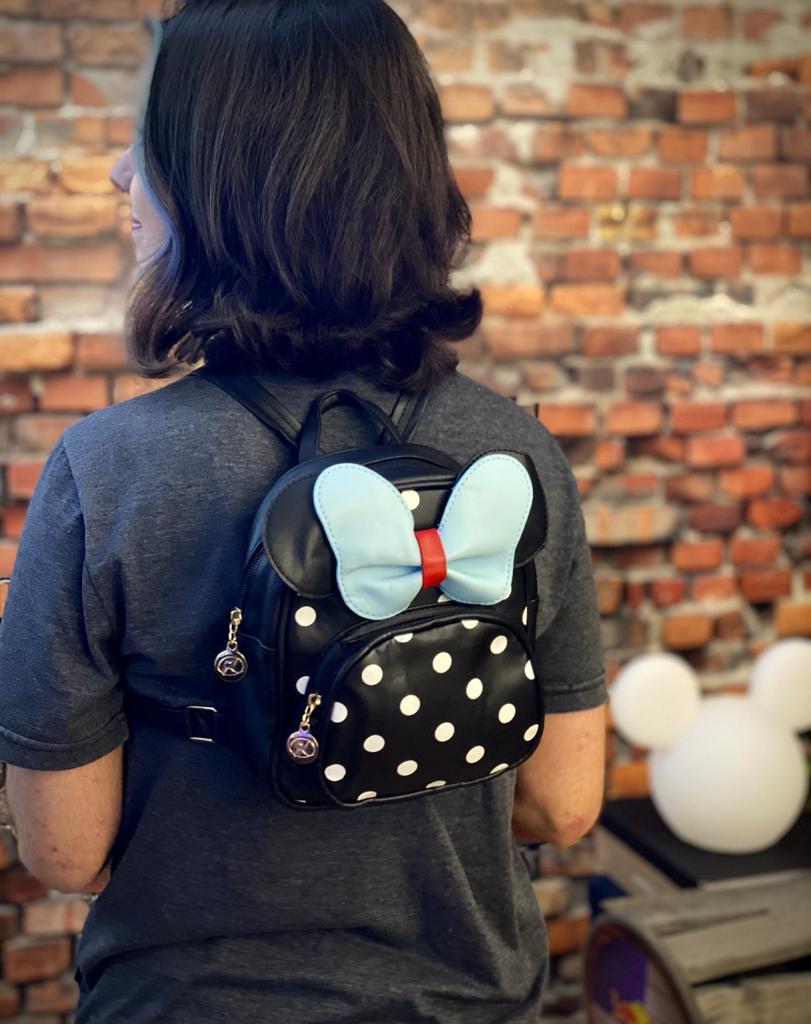 Mochila / Bolsa Minnie Preto e Azul: Disney