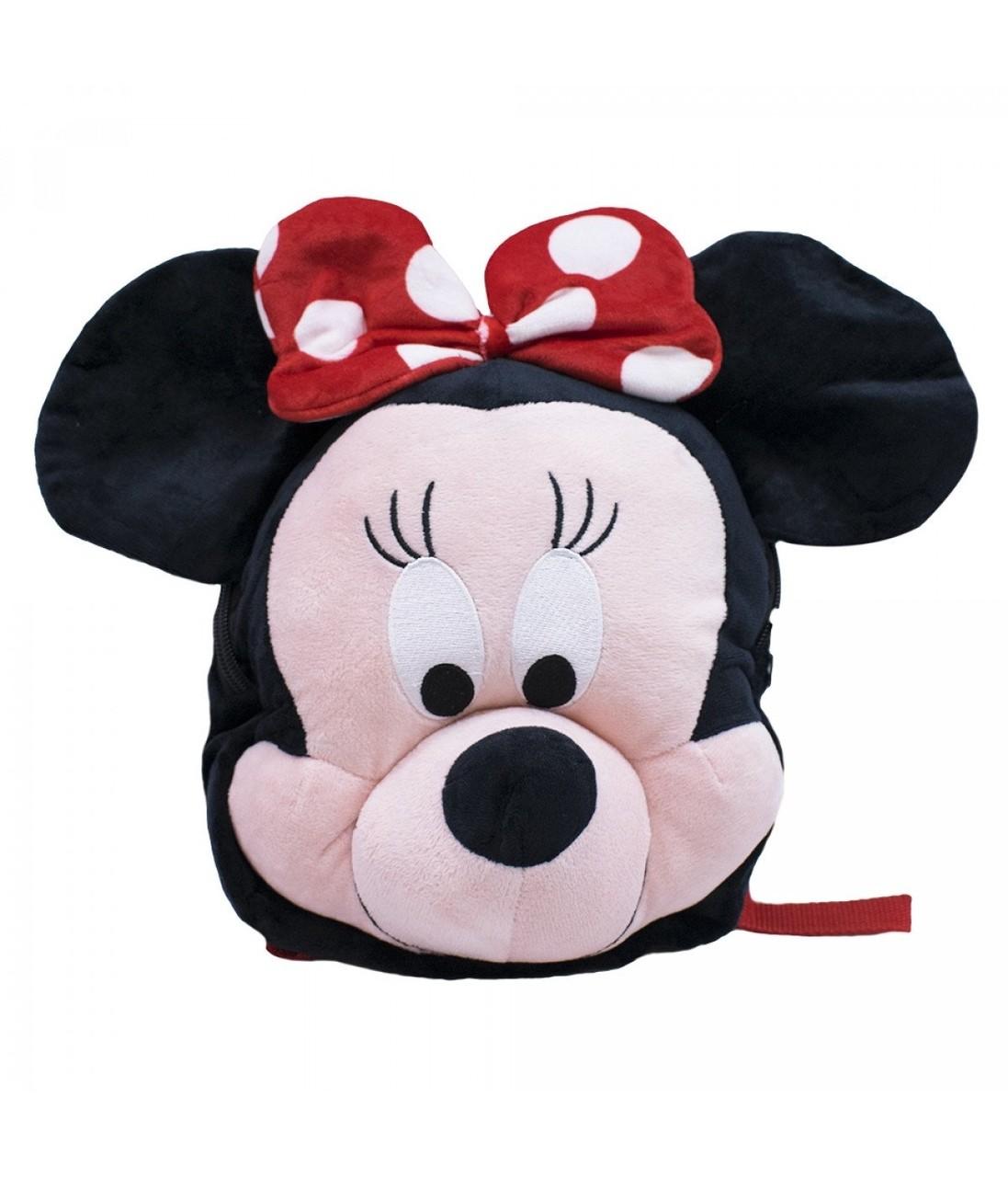 Mochila Bolsa Pelucia Rosto Minnie Mouse