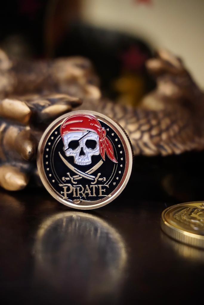 Moeda Comemorativa Pirata Mapa Do Tesouro