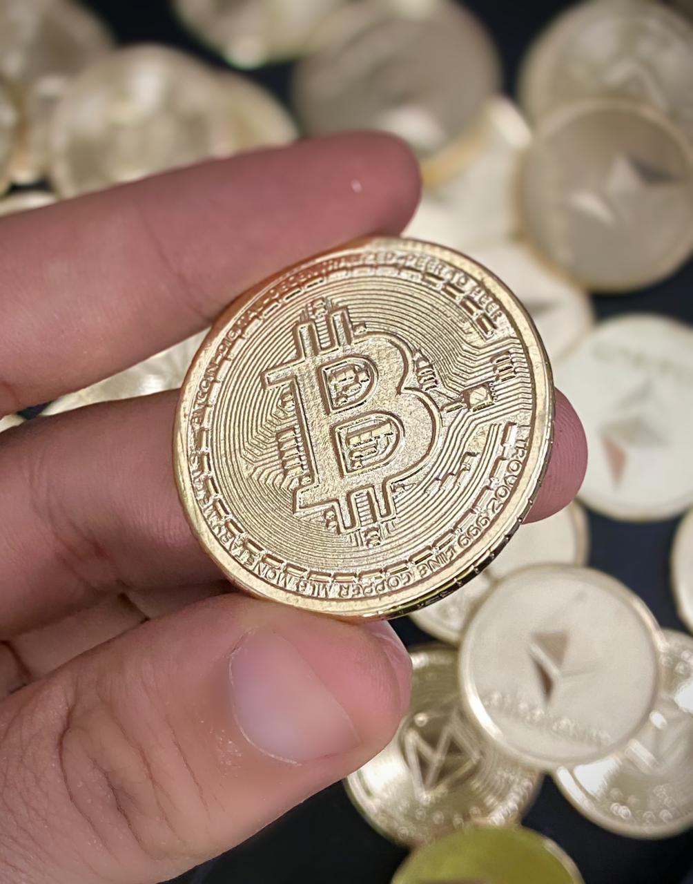 Moeda Decorativa Bitcoin Trader Criptomoedas  6cm