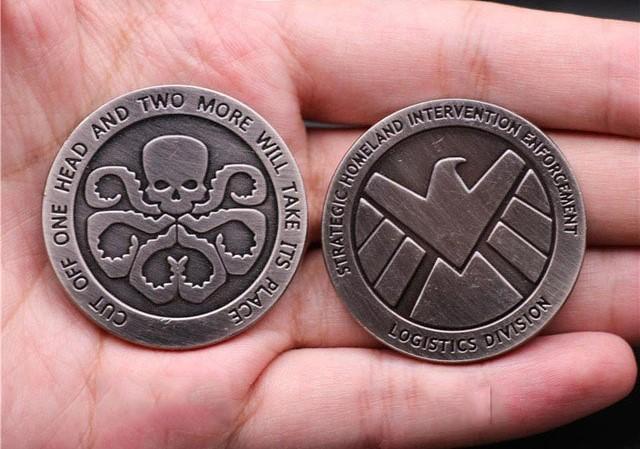 Moeda Decorativa Shield e Hydra Marvel Comics 4 cm - EVALI