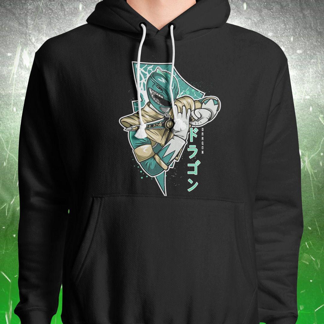 Moletom Com Capuz Power Rangers: Dragão Verde (Preto)