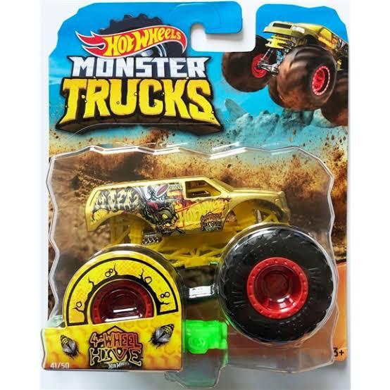 Monster Trucks Hot Wheels: 4-Wheel Hive (1/64) - Mattel