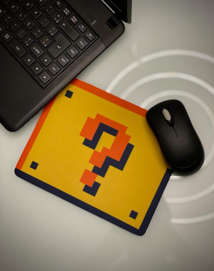 Mousepad Bloco Interrogação: Super Mario Bros - Mouse pad - EV