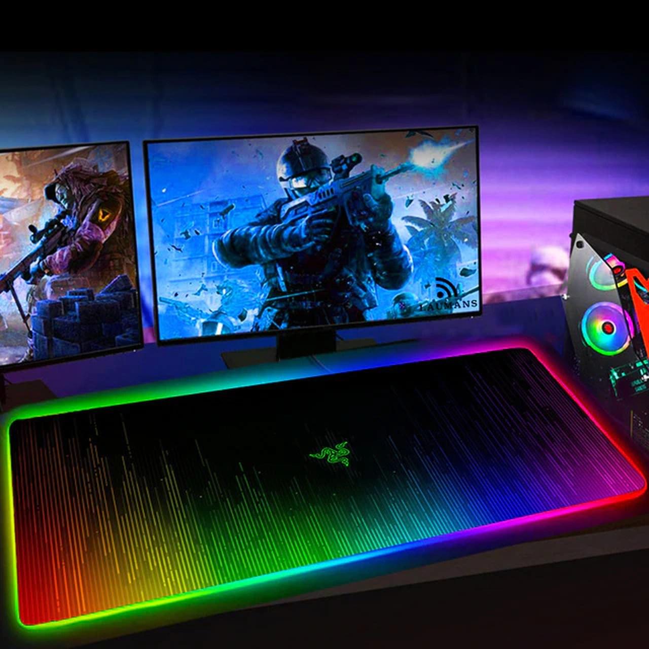 Mousepad Gamer Backlit Grande Chroma: LED RGB Rainbow - Razer Red Dragon Hyper X - MKP