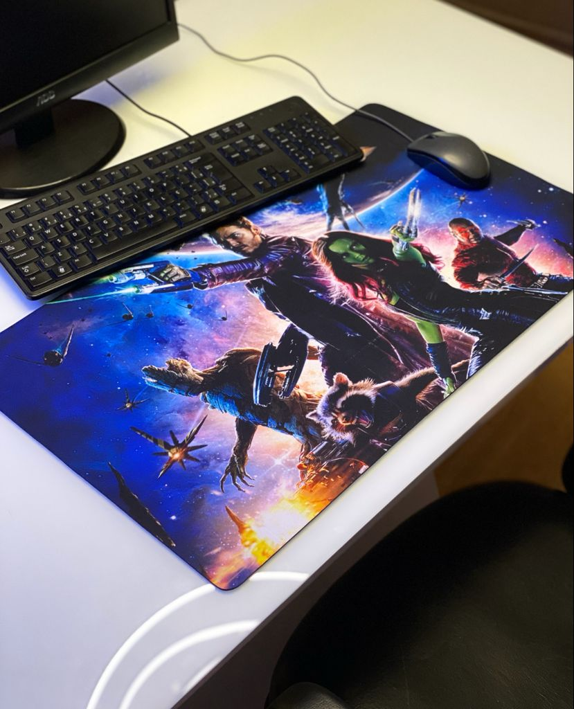 Mousepad Mouse Pad Gamer Grande Gamora Star Lord Drax Groot Rocket: Guardiões da Galáxia Guardians of the Galaxy Marvel
