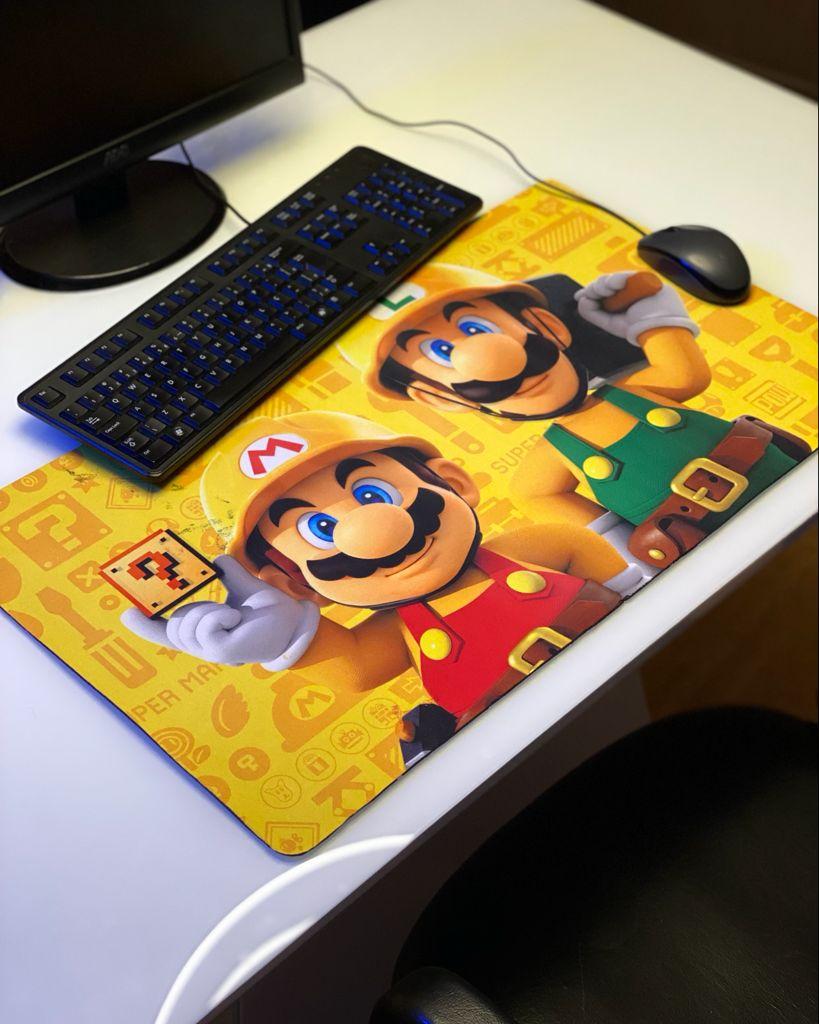 Mousepad Mouse Pad Gamer Grande Mario e Luigi Amarelo