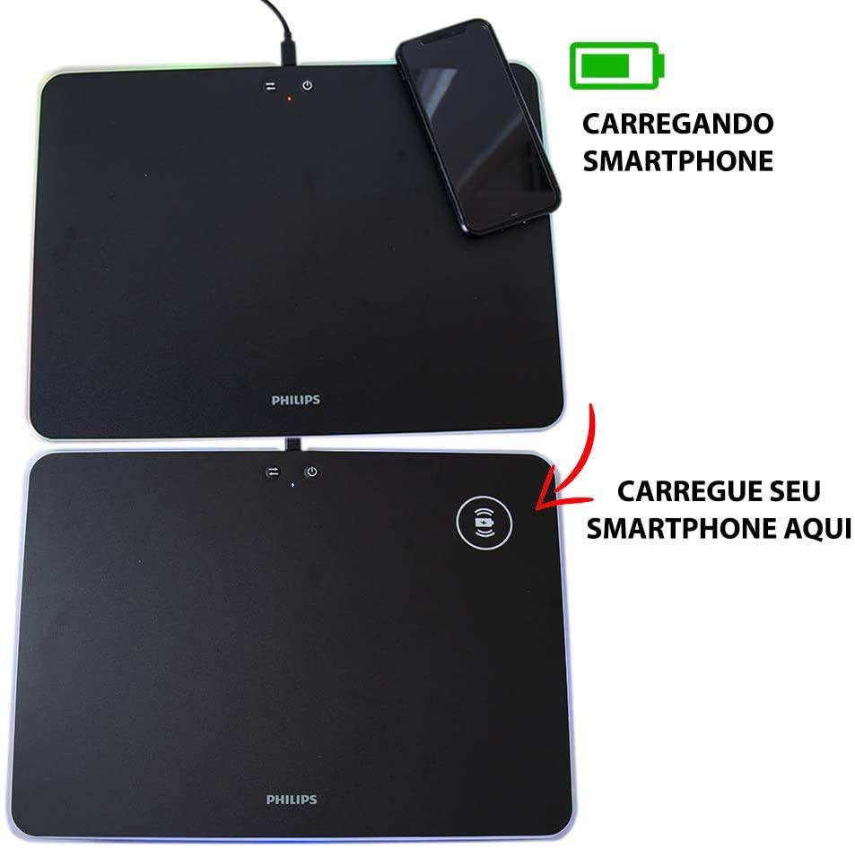 Mousepad Mouse pad Gamer LED RGB Rígido 35x25 Carregador - Philips