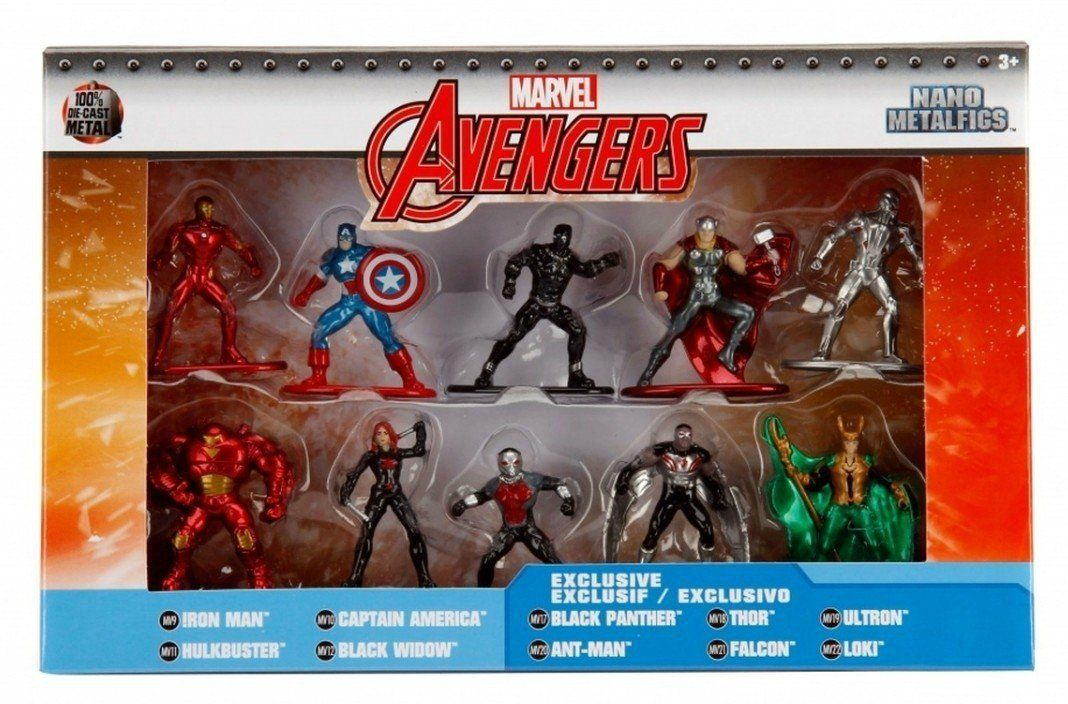 Nano Metalfigs: Vingadores (Avengers): Marvel (Set de 10) - Jada Toys