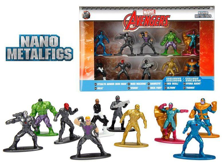 Nano Metalfigs: Vingadores (Avengers) (Wave 2): Marvel (Set de 10) - Jada Toys