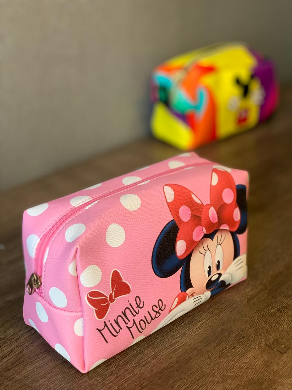 Necessaire Minnie Mouse Rosa e Branco - Disney