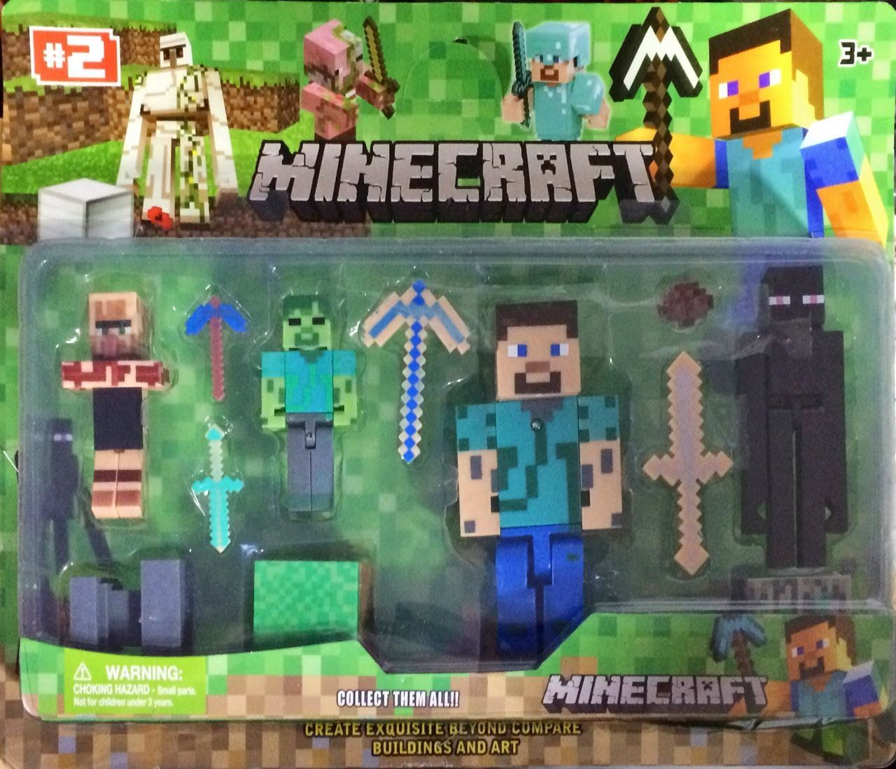 Pack 2 Minecraft 5 Personagens (Uillager-Enderman-Zombies-Esteue With Diamond Armor-Creeper)