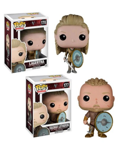 Pack com 2 Funko Pop Ragnar Lothbrok e Lagertha: Vikings  #177 e #178 - Funko - ET