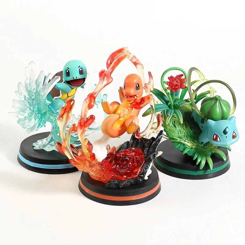 Pack com 3 Estátuas Charmander Squirtle Bulbasaur Kanto Pokemon Red e Blue 11 cm - MKP