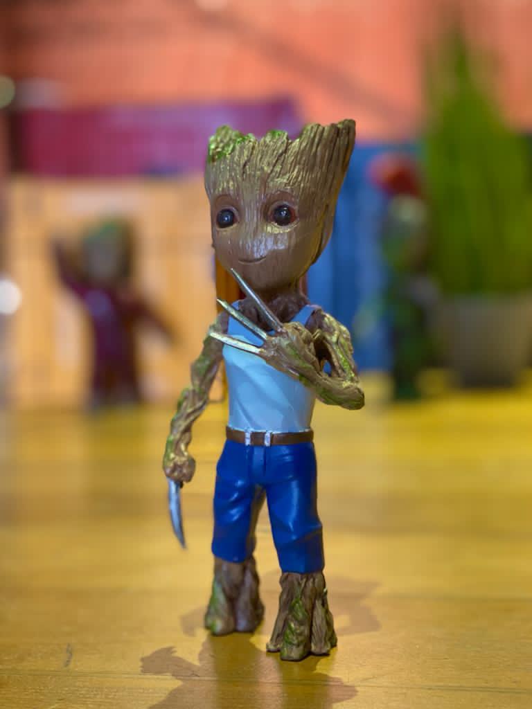 Pack Com 3 Estátuas Groot (Hulk Gladiador, Ravager, Wolverine): Guardiões da Galáxia Vol. 2 - Marvel