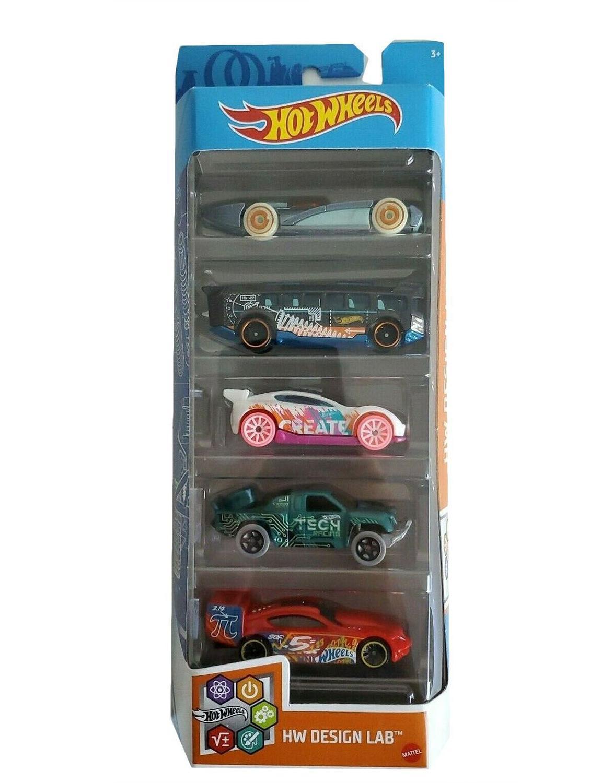 Pack Com 5 Carrinho Hot Wheels: Hw Design Lab - Mattel