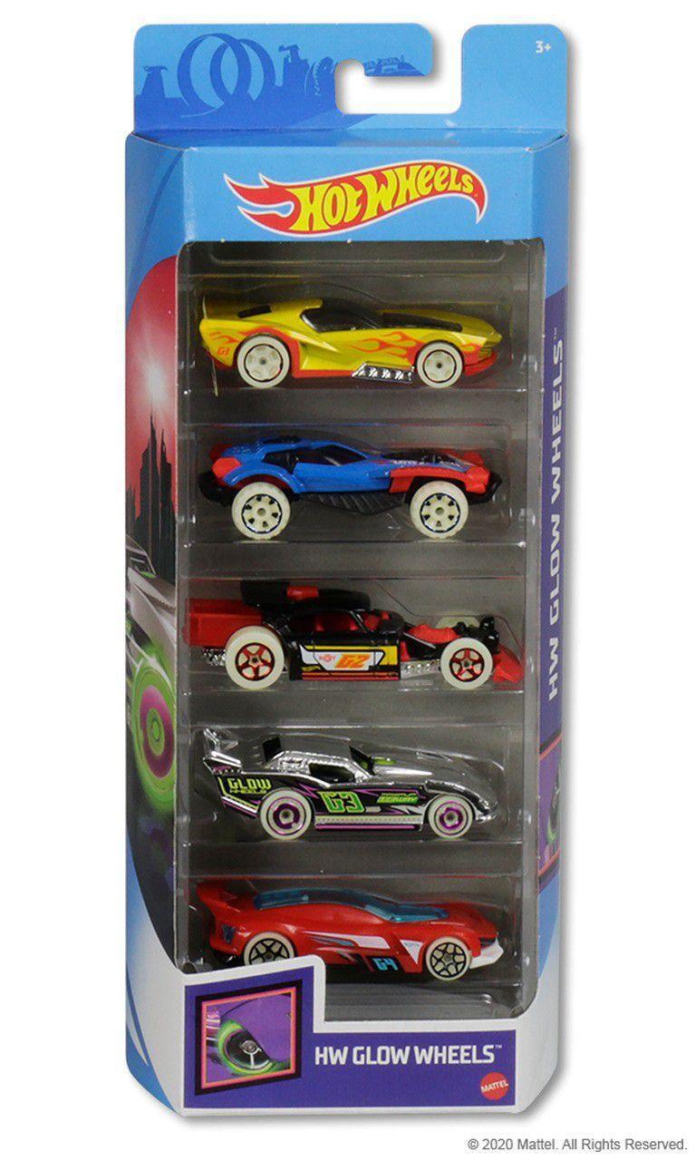 Pack Com 5 Carrinho Hot Wheels: Hw Glow Wheels - Mattel