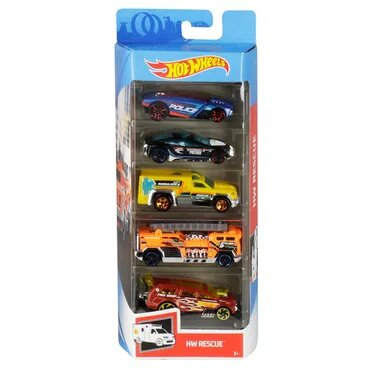 Pack Com 5 Carrinho Hot Wheels: Hw Rescue - Mattel