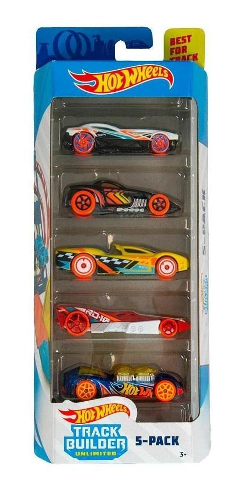Pack Com 5 Carrinho Hot Wheels: Track Builder Unlimited - Mattel