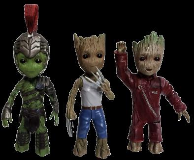 Pack Estátuas Groot (Hulk Gladiador,Wolverine & Ravager): Guardiões da Galáxia Vol. 2  (Guardians of the Galaxy Vol. 2 ) - Marvel (Apenas Venda Online)