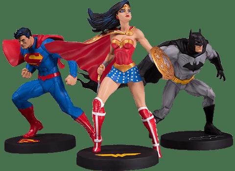 Pack Estátuas Super-Homem,Batman e Mulher-Maravilha (Superman, Batman and Wonder Woman): Jim Lee DC Designer Series - DC Collectibles (Exclusivo Toyshow)