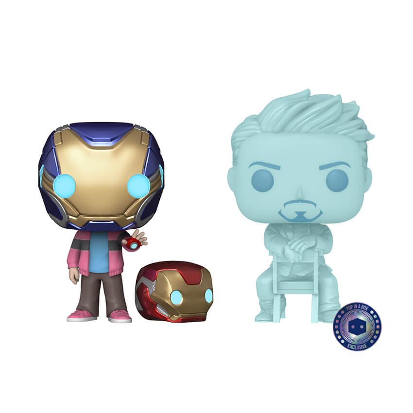 Pack 2 Funko Pop! Homem de Ferro Iron Man Vingadores Ultimato Avengers EndGame: Morgan e Holograma Tony Stark e Capacete (Glow in The Dark) Exclusivo - Marvel #02  - Funko