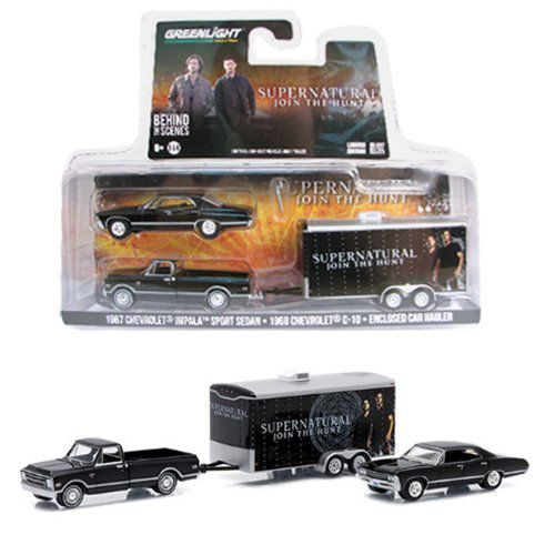 Pack Miniatura Chevrolet Impala Sedan 1968 e C-10 Conjunto De Trailer: Supernatural Escala 1/64 - GreenLight