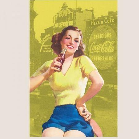 Pano de Prato Algodão Coca-Cola Pin Up Brown Lady