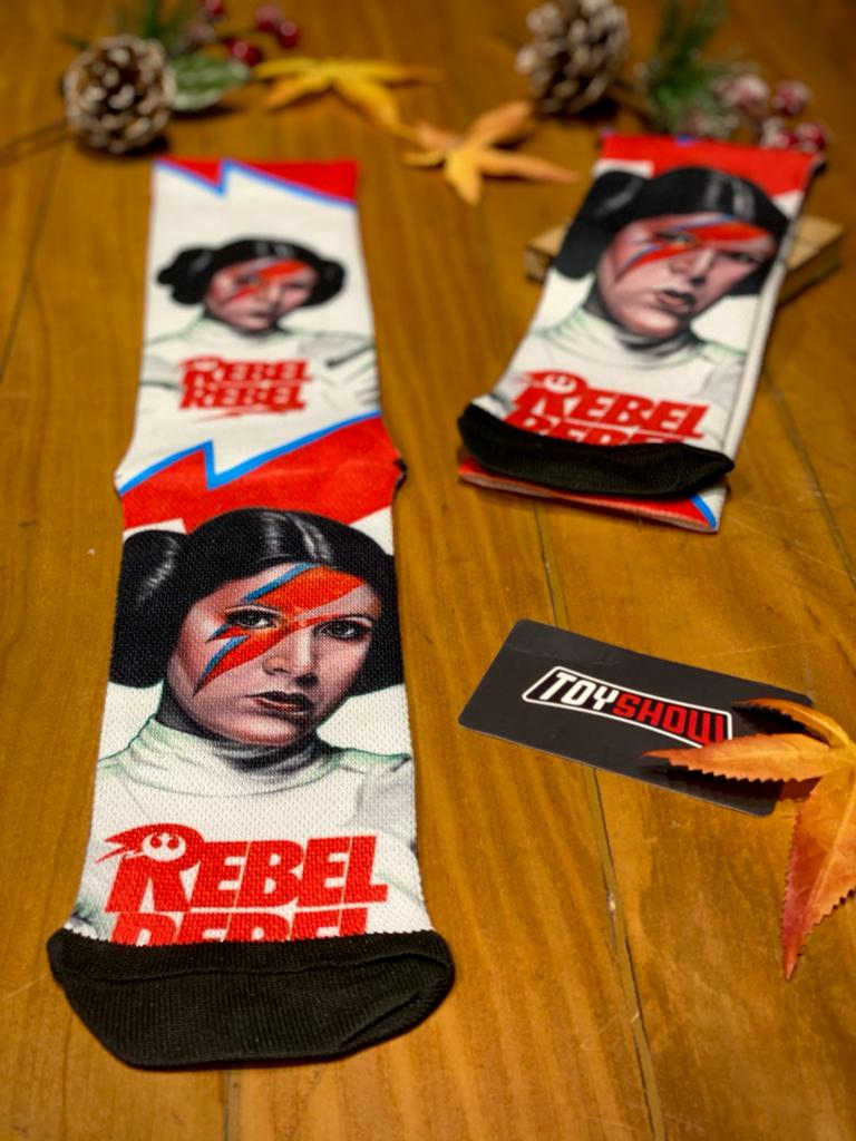 "Par de Meias Geek Princesa Leia Organa ""Rebel Rebel"": Star Wars"
