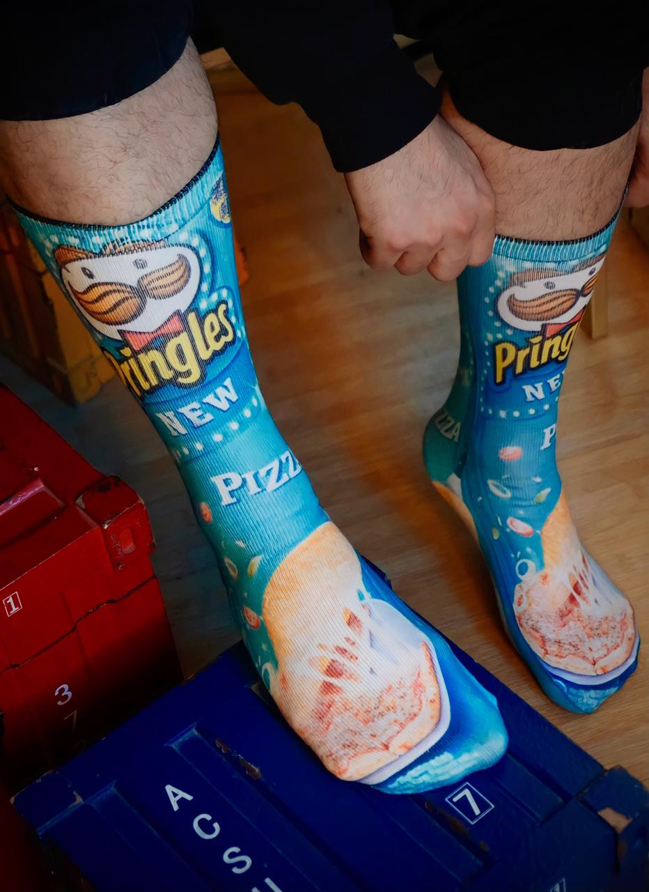 Par de Meias Geek Pringles New Pizza