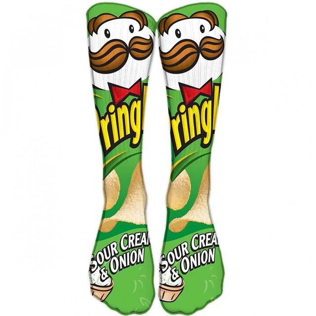 Par de Meias Geek Pringles Sabor Sour Cream and Onion - EVALI