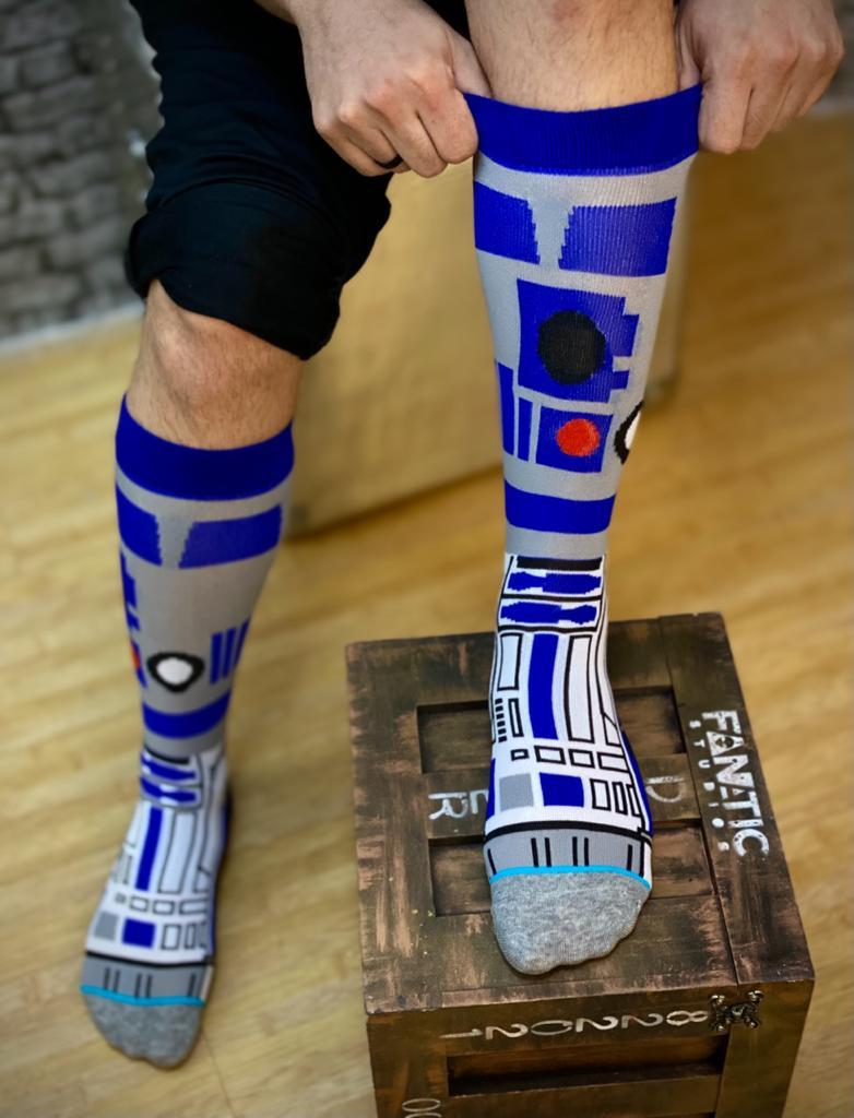 Par de Meias Geek R2-D2 Star Wars Cinza e Azul
