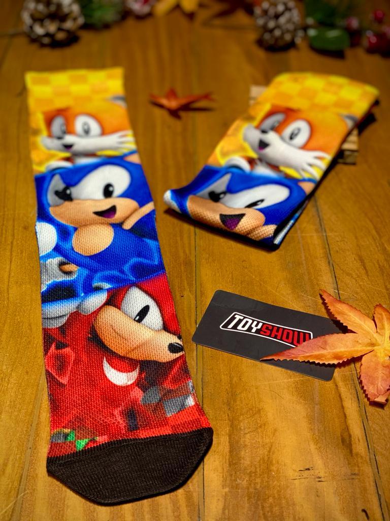 Par de Meias Geek Sonic, Tails e Knackles: Sonic Hedgehog
