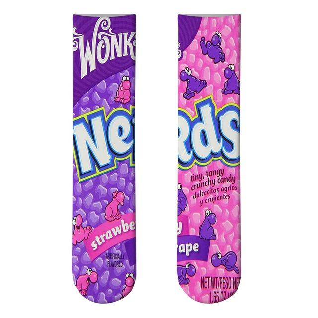 Par de Meias Geek Wonka Nerd's Sabor Strawbarry E Grape - EV