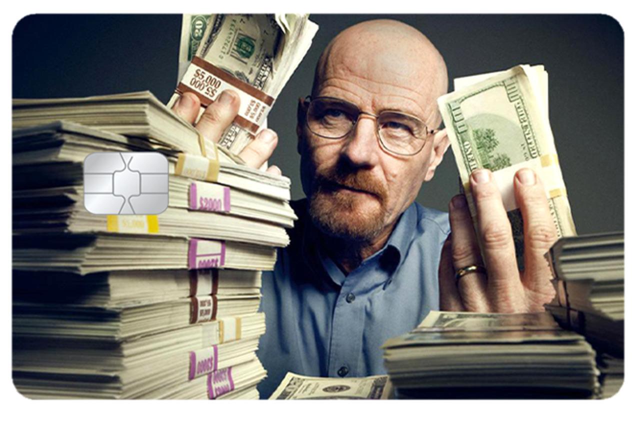 Película Adesiva Geek Cartão de Crédito e Débito Breaking Bad Walter White Money Dinheiro - EV