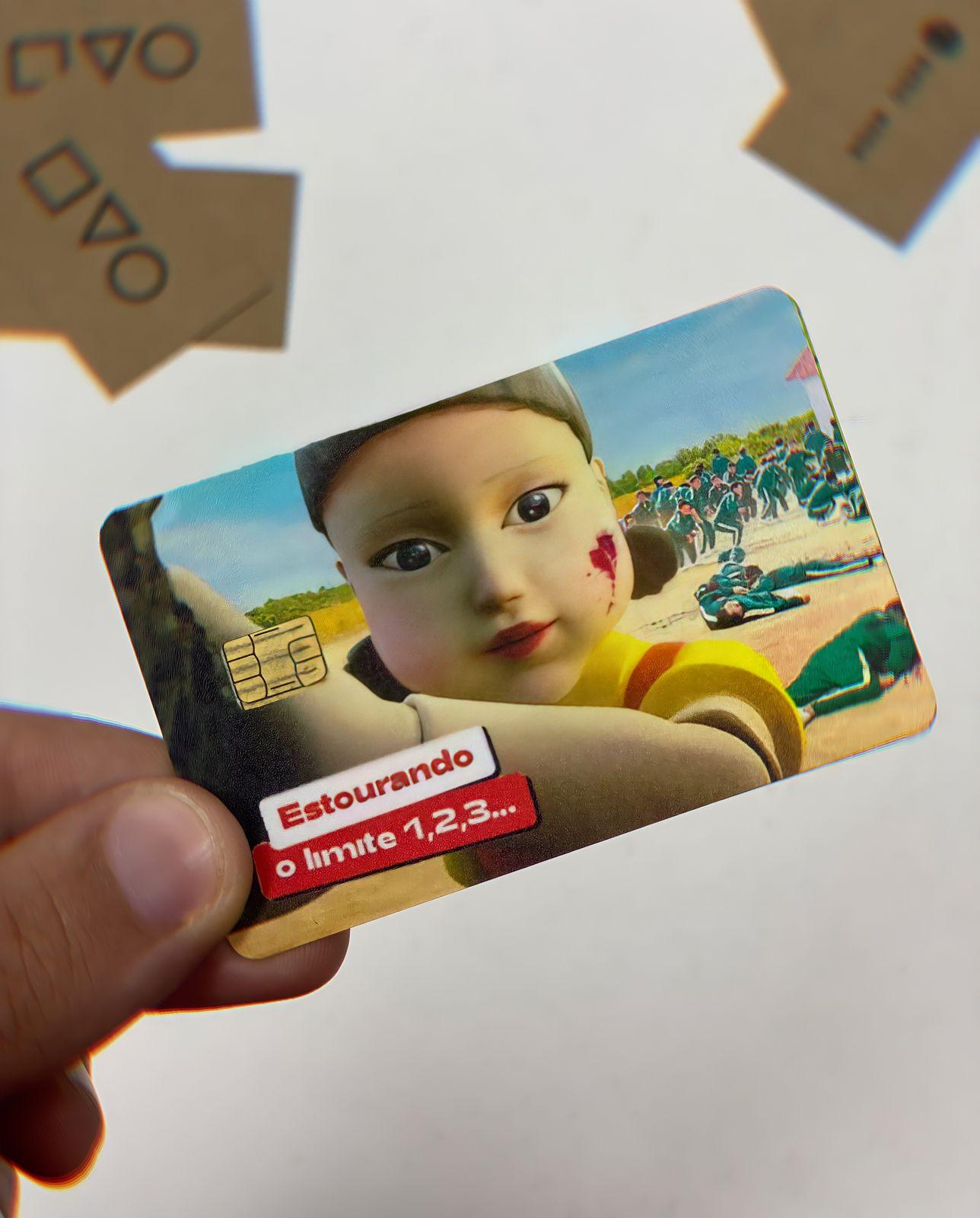 Película Adesiva Geek Cartão de Crédito e Débito Estourando o Limite 1 2 3 Squid Game Round 6: Netflix - EV