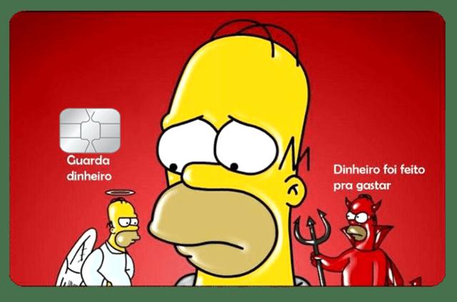 Película Adesiva Geek Cartão de Crédito e Débito Homer Guarda Dinheiro Dinheiro Foi Feito Os Simpsons - EV