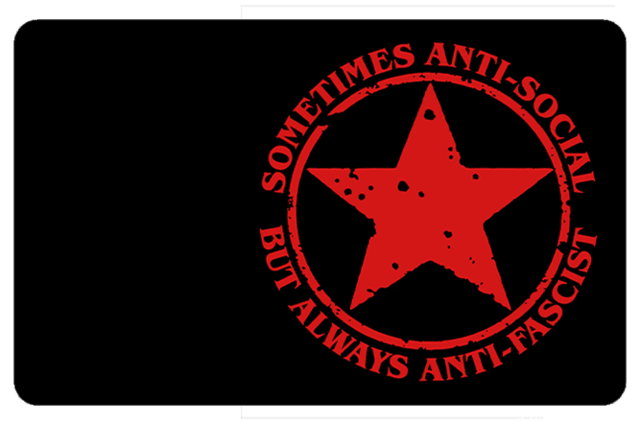 Película Adesiva Geek Cartão de Crédito e Débito Sometimes Anti-Social But Always Anti-Fascist