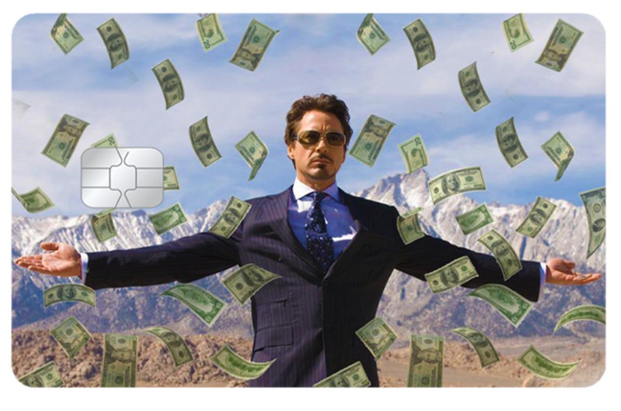 Película Adesiva Geek Cartão de Crédito e Débito Tony Stark Iron Man Homem de Ferro Dinheiro Money Marvel - EV