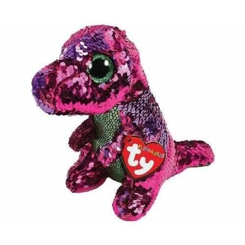 Pelúcia Beanie Boos Paetês (Flippables): Dinossauro (Stompy) - DTC